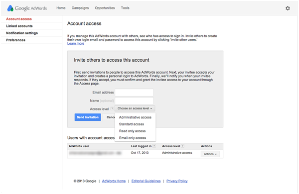 how to add admin in google adwords